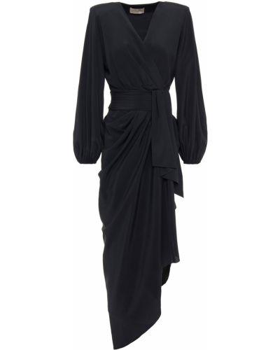 Czarna sukienka wieczorowa asymetryczna z jedwabiu Alexandre Vauthier