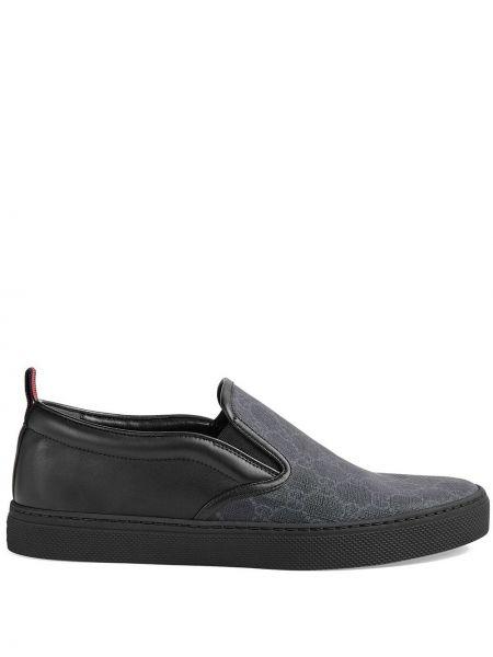 Brezentowy czarny skórzane sneakersy z wkładkami elastyczny Gucci