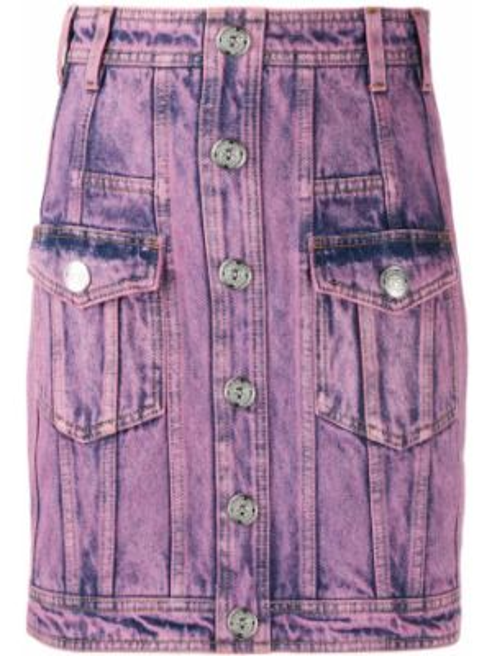 Różowa spódnica mini z wysokim stanem bawełniana Balmain
