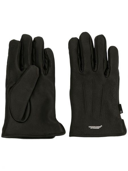 Czarne rękawiczki skorzane z printem Undercover
