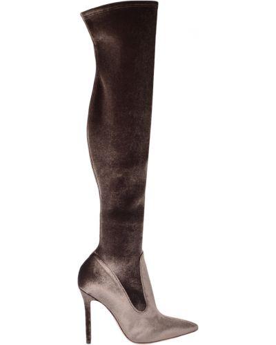 Ботфорты на каблуке кожаные текстильный Nando Muzi