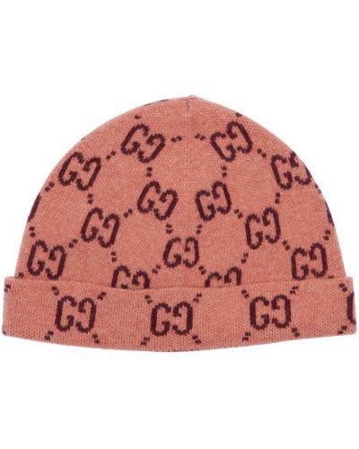 Wełniany różowy kapelusz Gucci