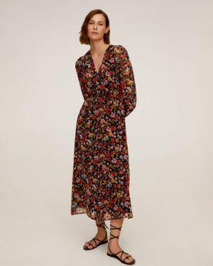 Платье с поясом с манжетами расклешенное Mango