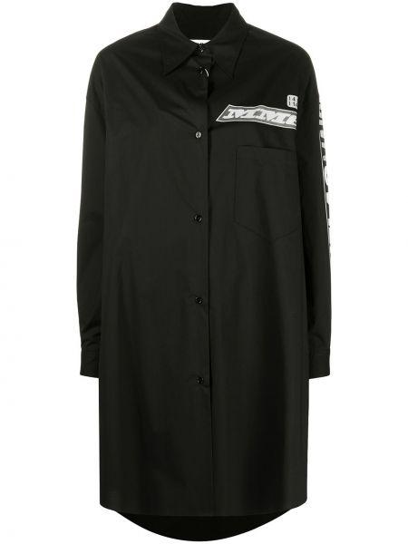 С рукавами черное платье макси с воротником Mm6 Maison Margiela