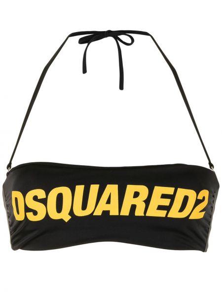 Пляжный черный лиф с вырезом Dsquared2