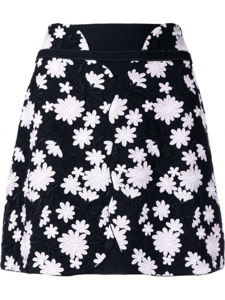 Хлопковая черная юбка мини с вышивкой Giambattista Valli