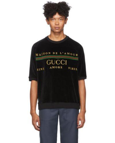 Черная футболка в полоску с воротником Gucci