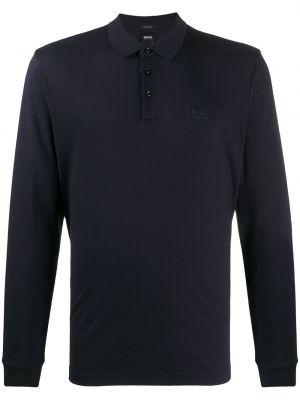 Prosto niebieski klasyczna koszula z kołnierzem z haftem Boss