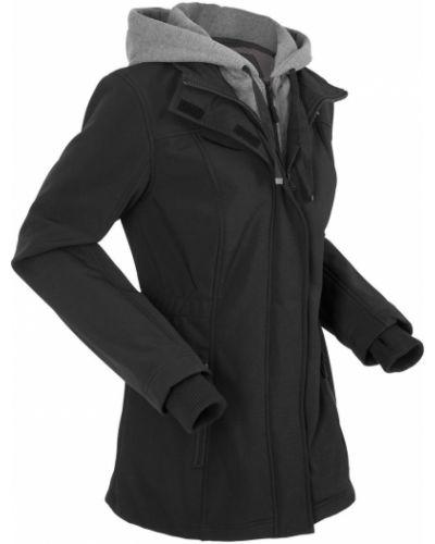 Черная длинная куртка с манжетами Bonprix