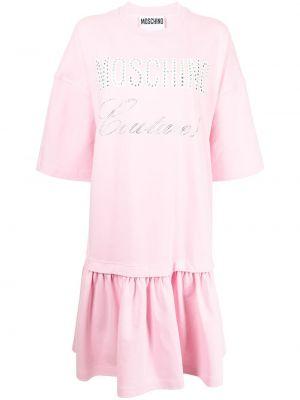 Розовое платье с круглым вырезом Moschino