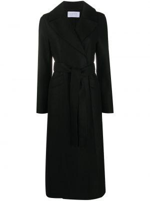Czarny wełniany długi płaszcz z kieszeniami z długimi rękawami Harris Wharf London