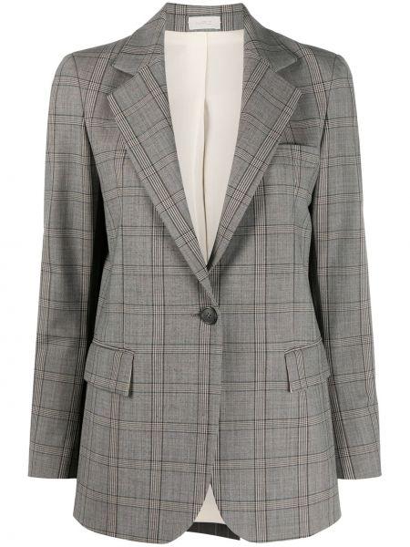 Серый удлиненный пиджак в клетку с карманами Mrz