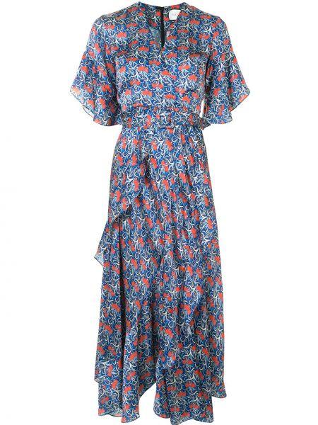 Синее расклешенное платье миди с V-образным вырезом на молнии Alexis