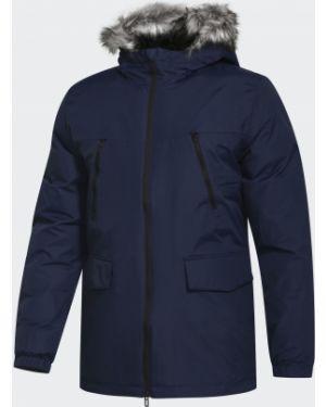 Зимняя куртка с капюшоном синяя Adidas
