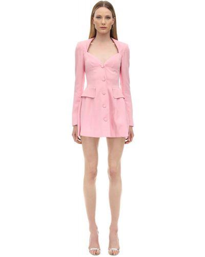 Różowa sukienka długa z długimi rękawami z wiskozy Marianna Senchina