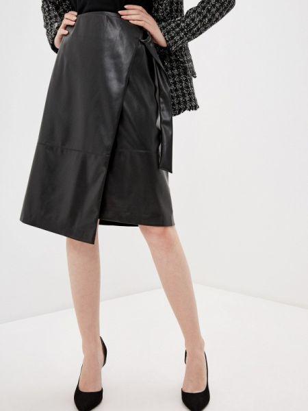 Кожаная юбка осенняя черная Vittoria Vicci