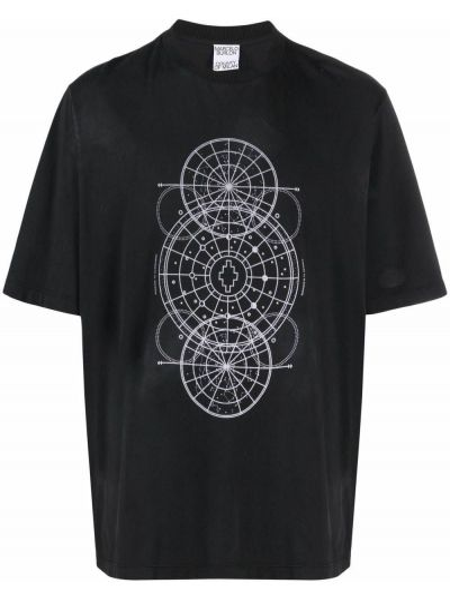 T-shirt z printem - czarna Marcelo Burlon County Of Milan