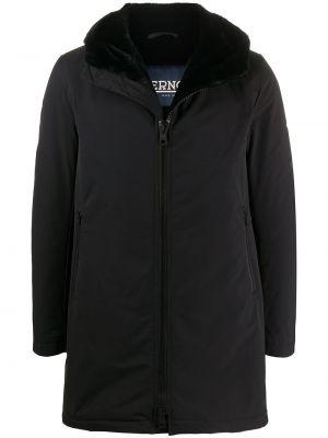 Czarny długi płaszcz z długimi rękawami z kapturem przycięte Herno