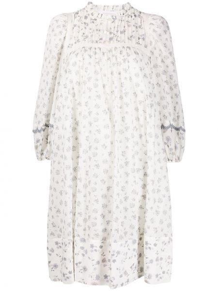 Белое платье макси с длинными рукавами в цветочный принт See By Chloé