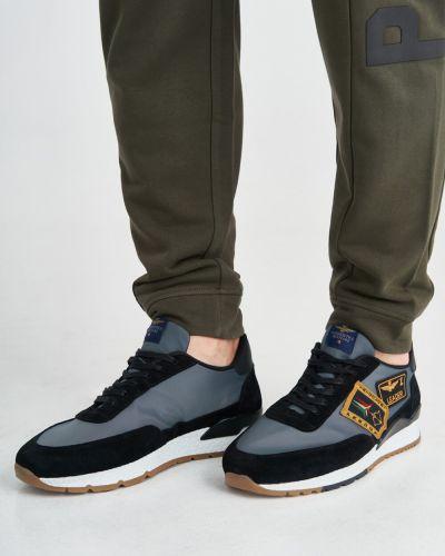 Кожаные кроссовки - черные Aeronautica Militare