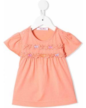 Розовая блузка с короткими рукавами с бантом Familiar