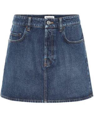 Хлопковая синяя плиссированная джинсовая юбка Balenciaga