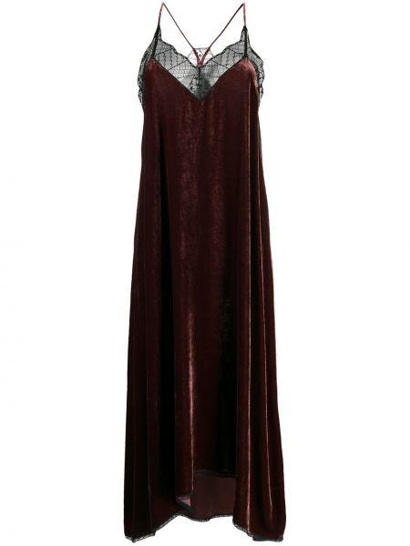 Шелковое тонкое платье миди на бретелях с V-образным вырезом Zadig&voltaire
