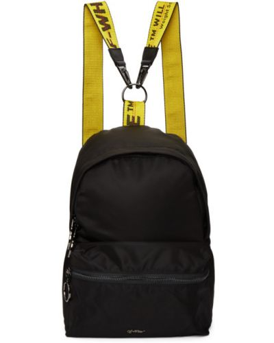 Текстильный белый рюкзак на бретелях с карманами Off-white