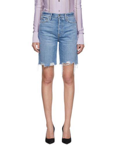 Кожаные серебряные джинсовые шорты с карманами с заплатками Grlfrnd