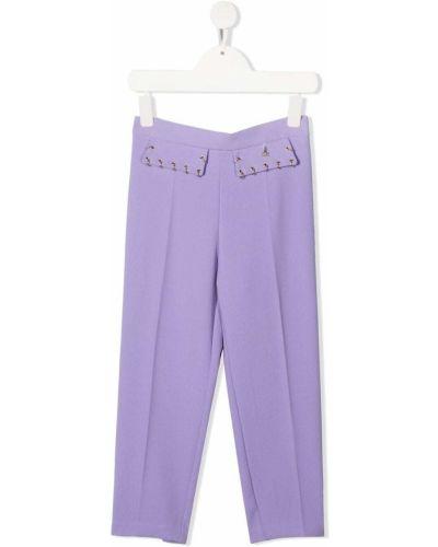 Фиолетовые прямые брюки со складками Elisabetta Franchi La Mia Bambina