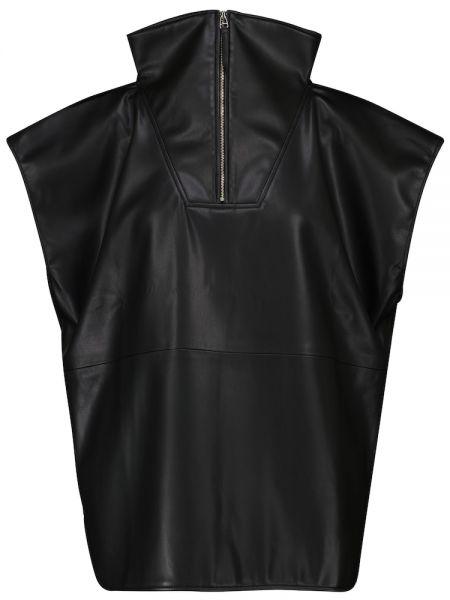 Черный кожаный топ Frankie Shop