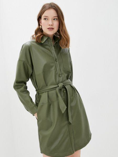 Платье кожаное зеленый Sela