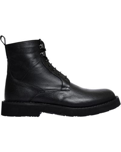 Кожаные ботинки осенние черные Armani Jeans