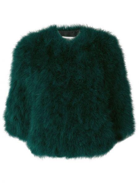 Зеленый шелковый пиджак с перьями Yves Salomon