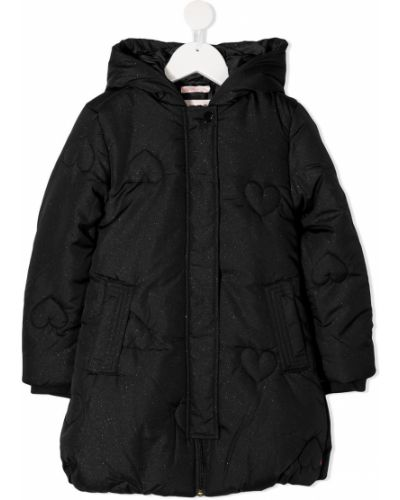 Czarna długa kurtka pikowana z długimi rękawami Billieblush