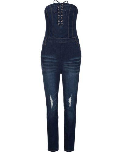 Синий джинсовый комбинезон на шнуровке Bonprix