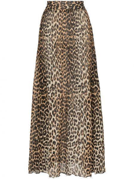 Юбка макси леопардовая с завышенной талией Ganni