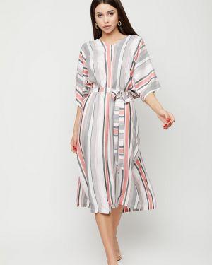 С рукавами прямое платье миди с разрезами по бокам из штапеля Cardo