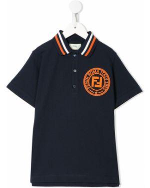 Синяя с рукавами классическая рубашка с воротником Fendi Kids