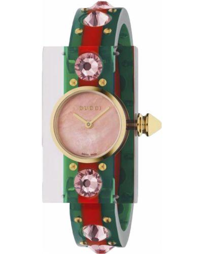 Розовые с ремешком часы водонепроницаемые Gucci