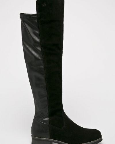 Кожаные сапоги черные черные S.oliver