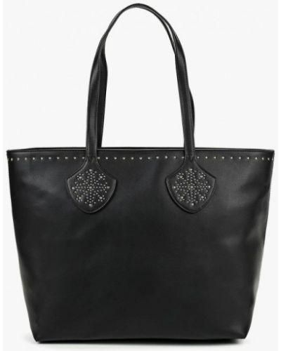 Кожаный сумка шоппер черный Fabretti