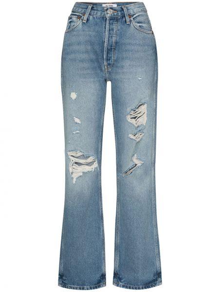 Z wysokim stanem bawełna jeansy na wysokości z kieszeniami z ozdobnym wykończeniem Re/done