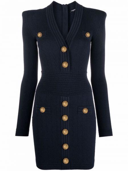 Платье макси с длинными рукавами - синее Balmain