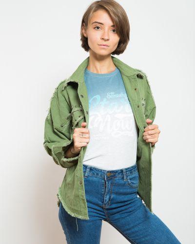 Джинсовая куртка зеленая синий Fashion