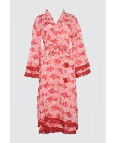 Różowy ciepły kaftan bawełniany Trendyol