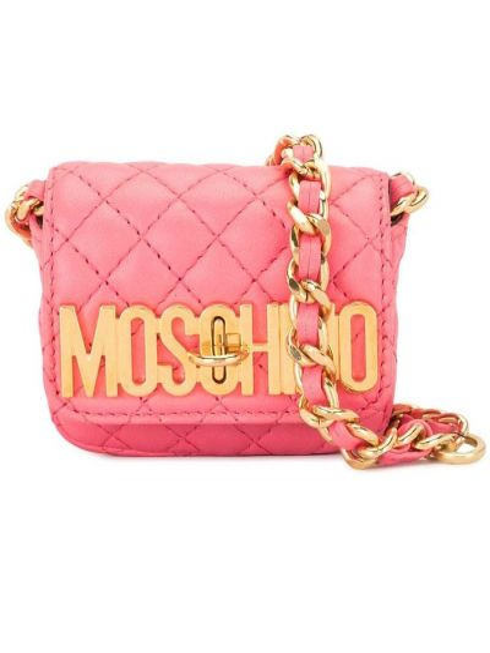 Золотистая кожаная розовая стеганая маленькая сумка Moschino Pre-owned