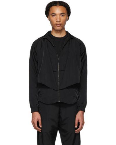 Czarna długa kurtka z nylonu z długimi rękawami Cottweiler