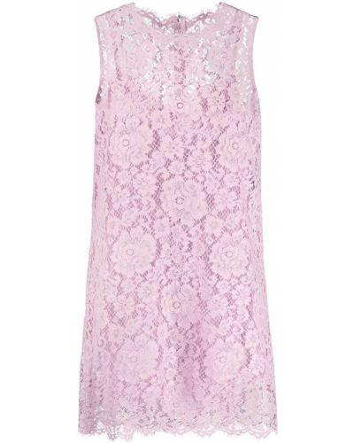Шелковое розовое кружевное платье Dolce & Gabbana