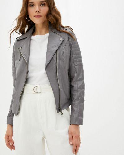 Серая турецкая кожаная куртка Basics & More